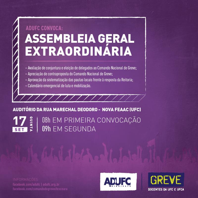 Assembleia Geral Extraordinária dia 17 de Setembro Quinta-feira.