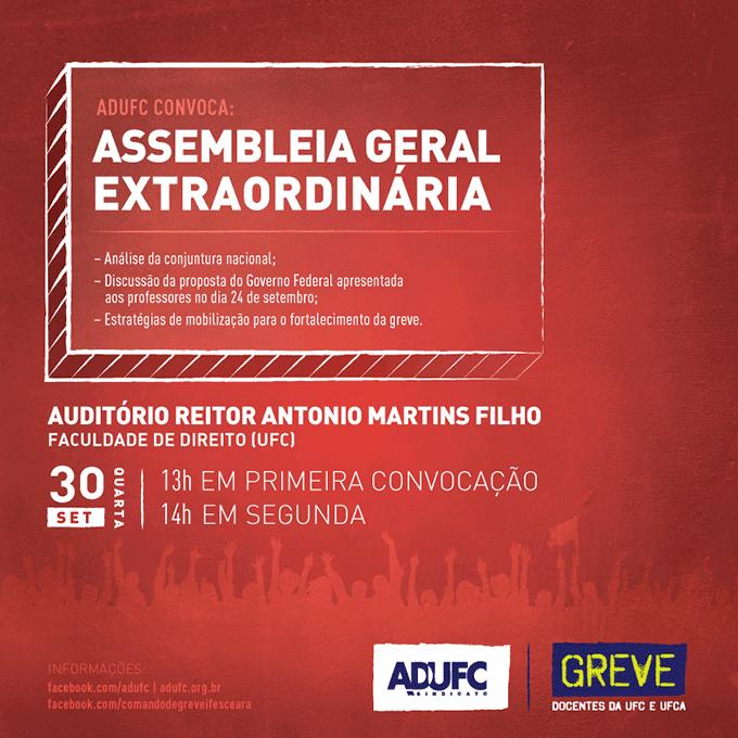 Assembleia Geral Extraordinária dia 30/09